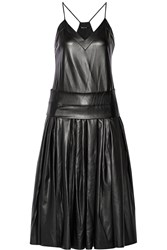 Dkny Drop Waist Faux Leather Midi Dress Black