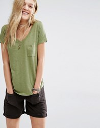 Abercrombie And Fitch Core V Neck Slouchy T Shirt Olive Green