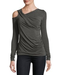 Bailey 44 Asymmetric Cutout Jersey Top Charcoal