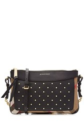Burberry Shoes And Accessories Peyton Embellished Shoulder Bag With Leather Multicolor