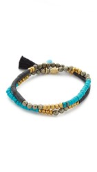 Lacey Ryan Double Wrap Bracelet Turquoise Black Gold