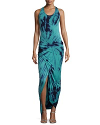 Young Fabulous And Broke Young Fabulous And Broke Tie Dye Racerback Maxi Dress Teal
