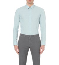 Hugo Boss Leisure Slim Fit Cotton And Linen Blend Shirt Light Pastel Green
