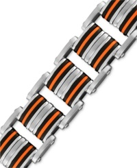 Macy's Men's Stainless Steel And Rubber Bracelet Thick Bike Chain Link