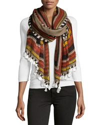 Theodora And Callum Printed Pompom Scarf Light Heather Gray