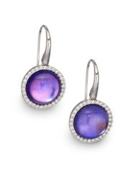 Roberto Coin Cocktail Amethyst Lapis Mother Of Pearl Diamond And 18K White Gold Drop Earrings No Color
