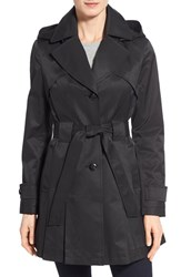 Women's Via Spiga 'Scarpa' Hooded Single Breasted Trench Coat Black
