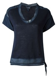 Armani Jeans See Through Hem Blouse Blue