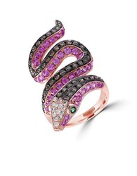 Effy Diamond Semi Precious Multi Stone And 14K Rose Gold Snake Ring 1 Tcw Purple