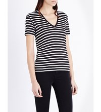 The Kooples Breton Stripe V Neck T Shirt Black White