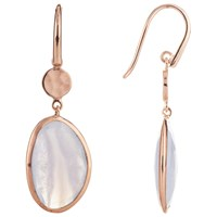 John Lewis Gemstones Blue Lace Agate Drop Earrings Rose Gold Blue