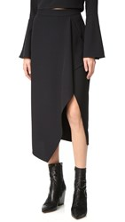 Kendall Kylie Asymmetrical Draped Skirt Black