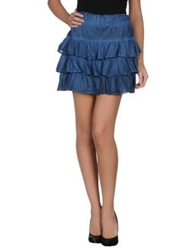 Amy Gee Mini Skirts Slate Blue
