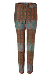 Sophie Theallet Olive Rust Multi Belted Arabesque Silk Cotton Pant Gr. 36