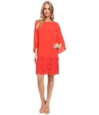 Tahari By Arthur S. Levine Tulip Sleeve Chiffon Shift Dress W Floral Hem Coral Women's Dress