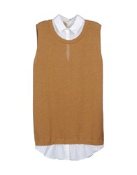 Ndegree 21 Sleeveless Sweaters Light Brown