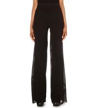 Rick Owens Wide Leg High Rise Silk Georgette Trousers Black