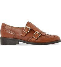 Dune Fiona Leather Monk Brogues Tan Leather