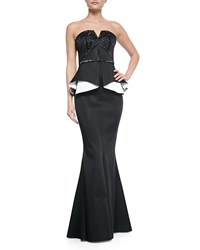 Rachel Gilbert Kasia Strapless Beaded Contrast Peplum Gown Black White