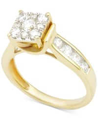 Macy's Diamond Round Cluster Engagement Ring 1 Ct. T.W. In 14K Gold Yellow Gold
