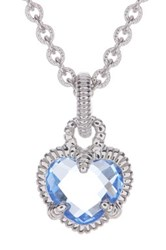 Judith Ripka Sterling Silver Faceted Crystal Heart Pendant Necklace Blue