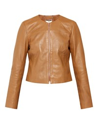 Ted Baker Alam Collarless Leather Jacket Tan
