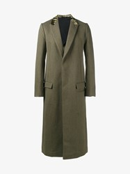 Haider Ackermann Velvet Trim Wool Blend Long Coat Khaki