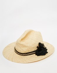 French Connection Fedora Hat With Flower Beige