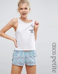 Asos Petite Unicorn Fan Club Tee And Short Pyjama Set Multi