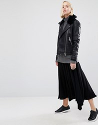 Warehouse Hanky Hem Skirt Black