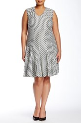 Taylor Printed Ruffle Dress Plus Size Gray