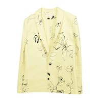 Eros And Agape Yellow Floral Linen Short Jacket Black Yellow Orange