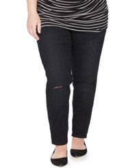 Motherhood Maternity Plus Size Distressed Maternity Skinny Jeans Black Wash