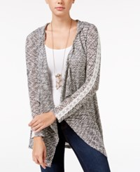 American Rag Crochet Trim Hooded Waterfall Cardigan Only At Macy's Black Combo