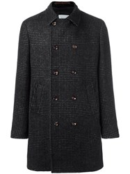 Eleventy Plaid Double Breasted Coat Black