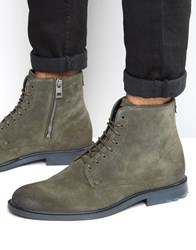 Hugo Boss Orange Cultroot Suede Lace Up Boots Green