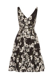 Erdem Gaby Rose Hip Night Print Flounce Hem Dress Black White