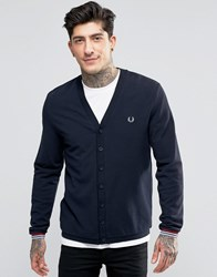 Fred Perry Cardigan In Pique In Navy Navy