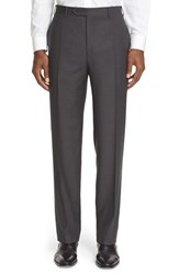 Canali Men's '13000' Regular Fit Flat Front Solid Wool Trousers