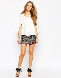 Mango Aztec Embroidered Mini Skirt Multi