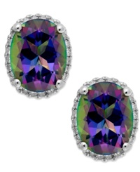Macy's 14K White Gold Mystic Topaz 4 Ct. T.W. And Diamond 1 6 Ct. T.W. Stud Earrings