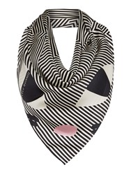 Lulu Guinness Kooky Cat Silk Square Scarf Black White Black White