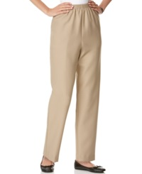 Alfred Dunner Pull On Straight Leg Pants Tan