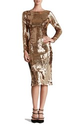 Dress The Population Women's Scoop Back Sequin Sheath Gold