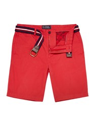 Howick Boston Chino Flat Front Shorts Red