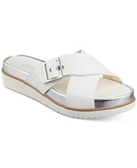 Guess Women's Deana Leather Cross Band Flatform Sandals Women's Shoes White Leather