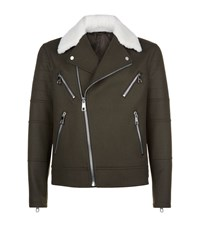 Neil Barrett Shearling Collar Biker Jacket Male Green