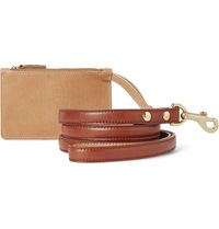 Shinola Leather Dog Leash And Pouch Set Brown