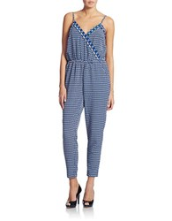 Laundry By Shelli Segal Printed Crop Jumpsuit Bright Blue