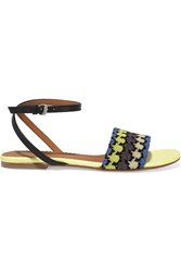 M Missoni Leather And Metallic Crochet Knit Sandals Yellow